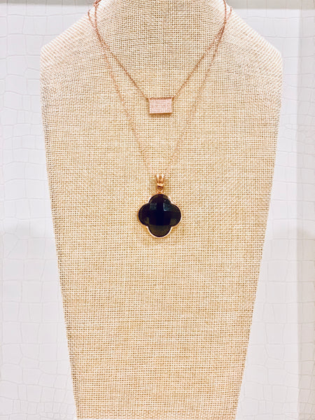 Brown Quartz Clover Shape Pendant Necklace
