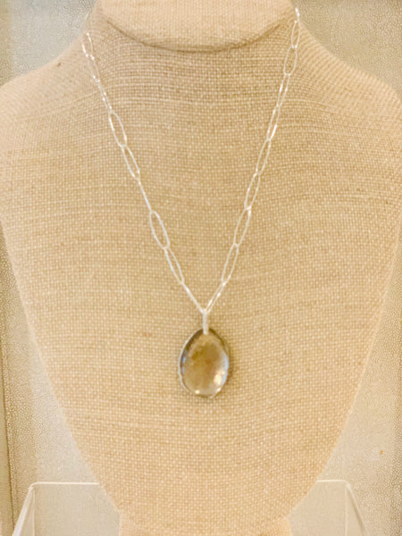 "22"" Smoky quartz slice necklace"