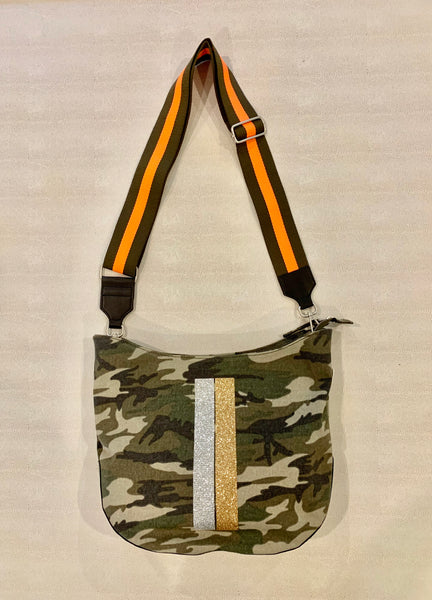Silver Gold Stripe Crossbody Bag with Orange Green stripe strap