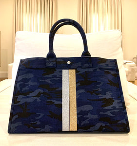 East west dark blue camoufl tote bag