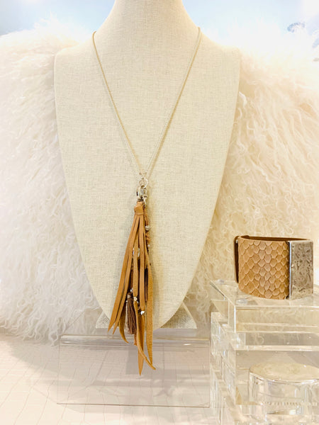Leather Fringe Long Necklace