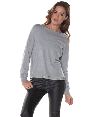 Grey Sweater with Sparkle trim