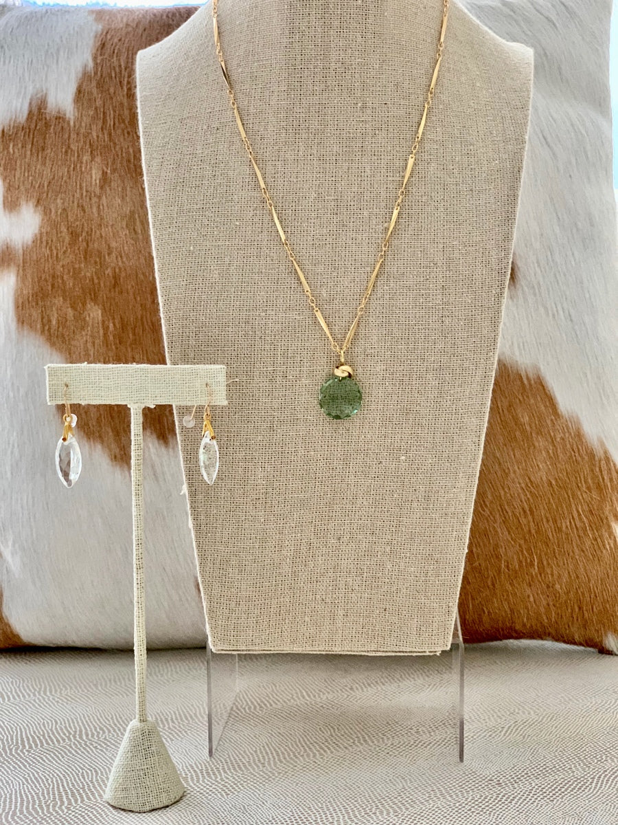 Green Quartz Disk Necklace