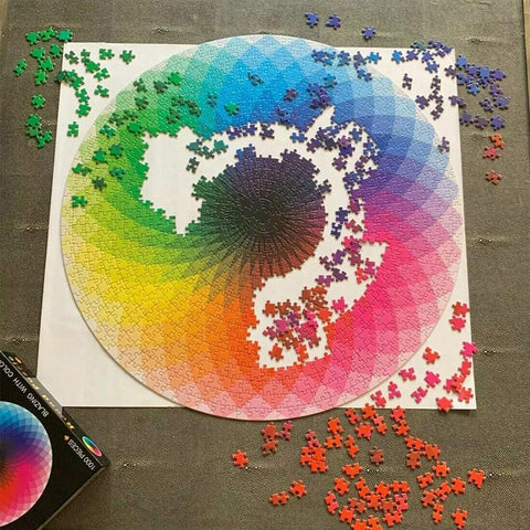 Rainbow Puzzle, Blooming Color, 1000 Piece Challenge, for Adult and Children.