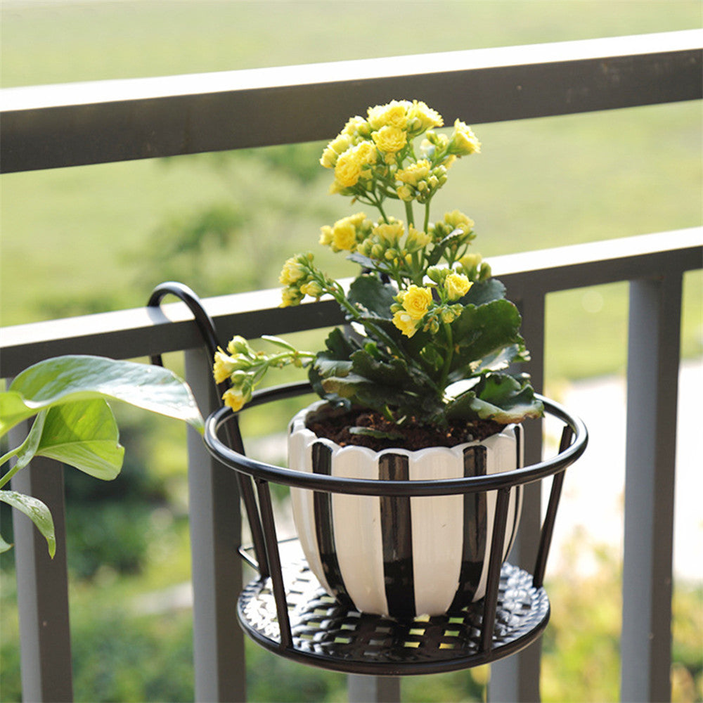 Balcony Iron Railing Frame Suspension Flower Pot Basket