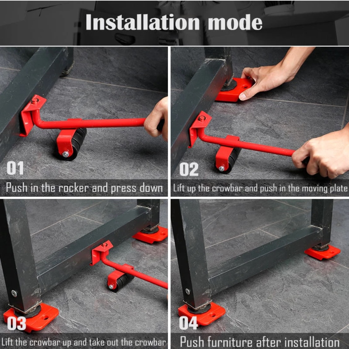 Powerful Heavy Furniture Roller Moving & Lifting Set, 4 Pcs.