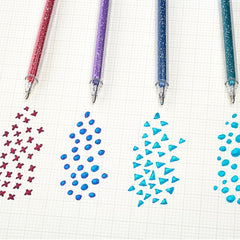 NEW! 8-Pack Sparkling Glitter Coloring Gel Mark Pen Kit, 1.0 mm.