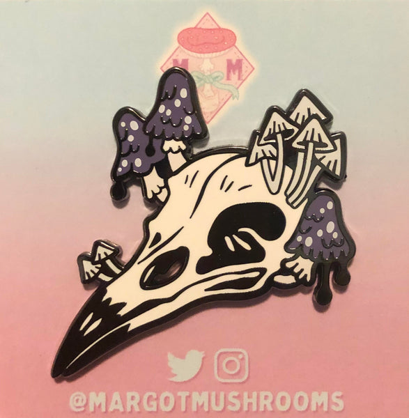 Crow Skull With Mushrooms - Enamel Pin by Margot Mushrooms