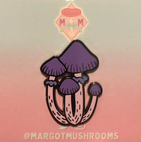 Purple Mushroom Cluster - Enamel Pin by Margot Mushrooms
