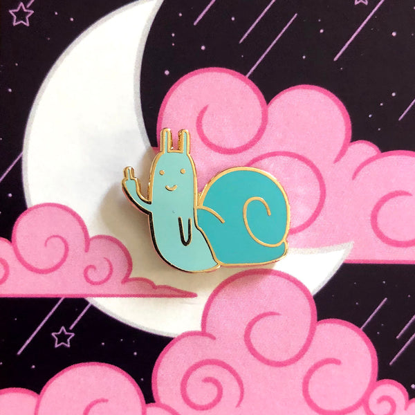 Blue Rude Snail Enamel Pin by @maintainingmediocrity