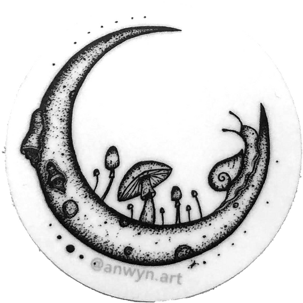 Snail Moon sticker by @anwyn.art