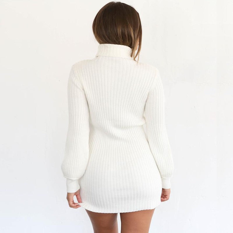 Knitted Turtleneck Sweater White Dress - tiaremarket