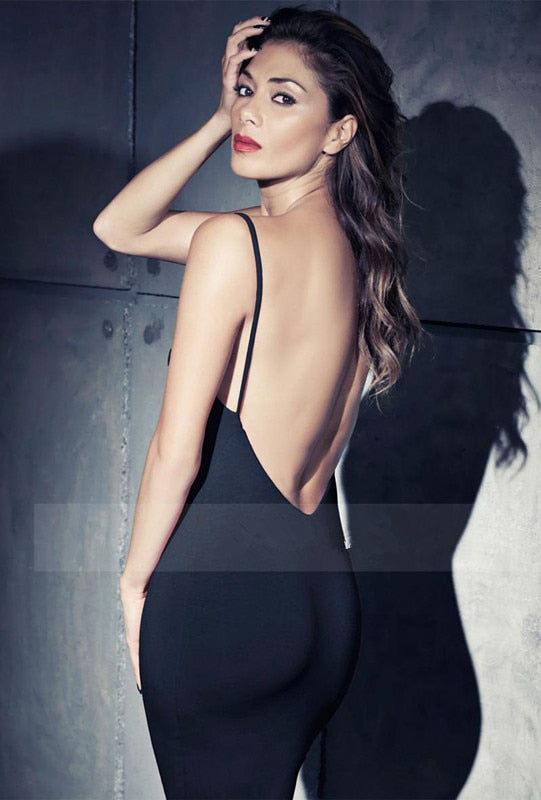 Low Back Straps Black Mini Dress - tiaremarket