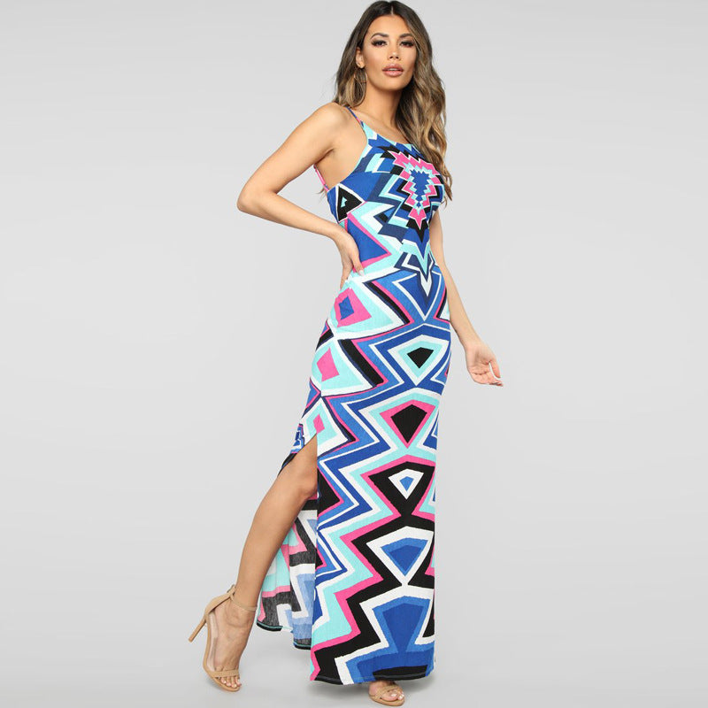 Maxi Dress High Neck Side Slit Straps - tiaremarket