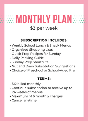 Monthly Subscription Plan - Lunch Unpacked