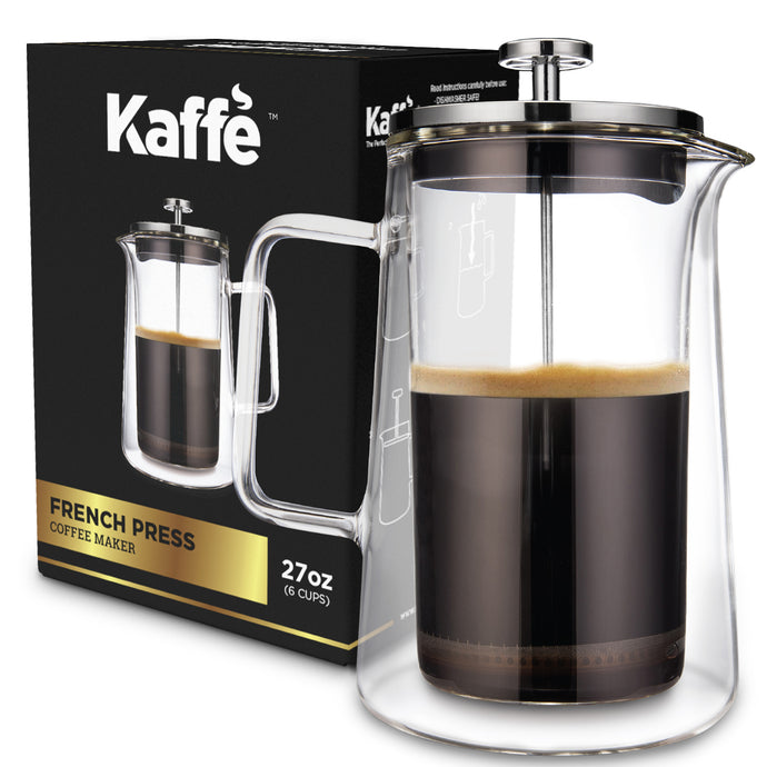 KF1010 Classic French Press Coffee Maker by Kaffe - 27 oz (6 cups) - Double-Wall Borosilicate Glass