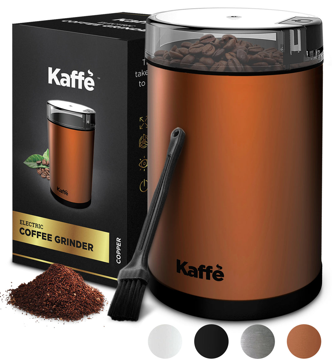 KF2030 Electric Coffee Grinder by Kaffe - Copper - 3 oz Capacity with Easy On/Off Button