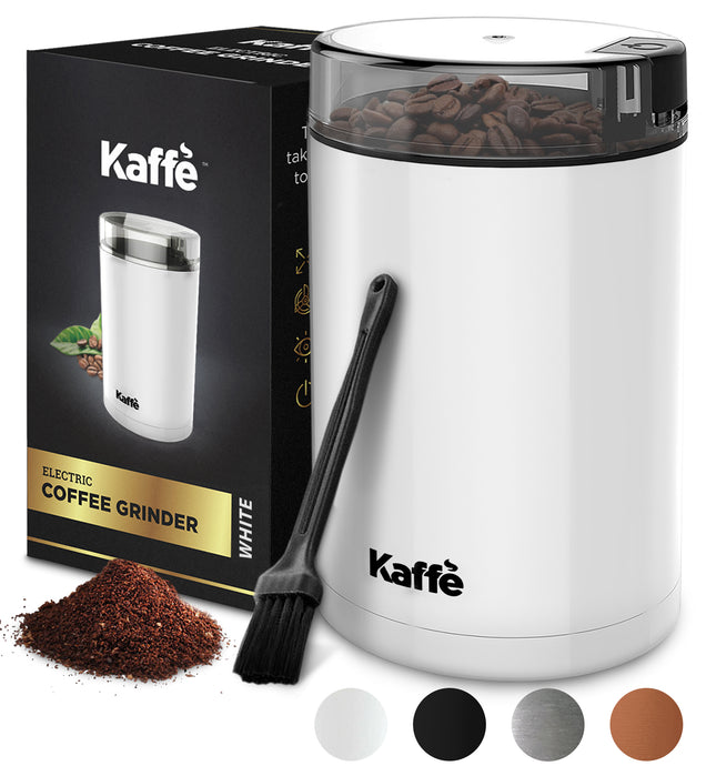 KF2040 Electric Coffee Grinder by Kaffe - White - 3 oz Capacity with Easy On/Off Button