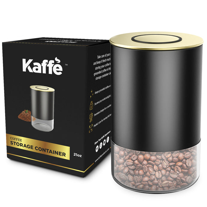 KF3030G Glass Storage Container by Kaffe - Gold - BPA Free 8 oz Coffee Canister