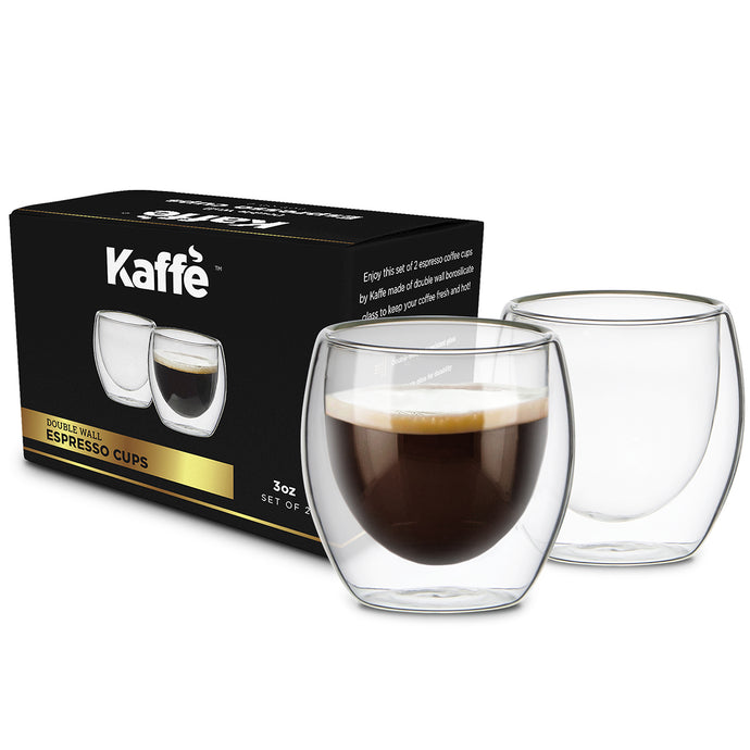 KF4040 Double-Wall Insulated Shot Espresso Cups by Kaffe (Set of 2) - 3 oz each