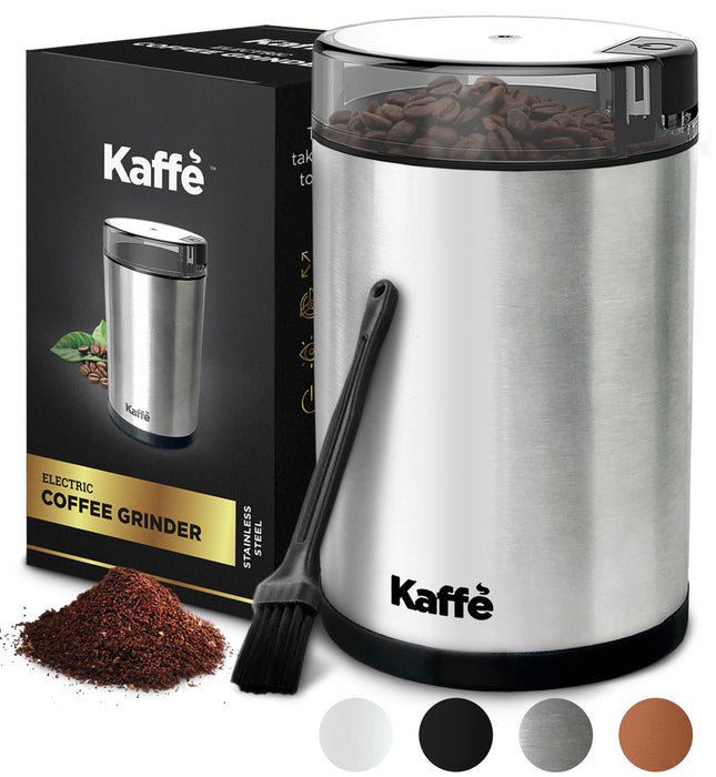 KF2020 Electric Coffee Grinder by Kaffe - Stainless Steel - 3 oz Capacity with Easy On/Off Button