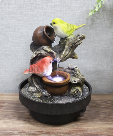 Birds Waterfall Desktop Fountain With Color LED Lighting