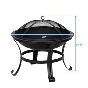 "22"" Curved Feet Iron Brazier Wood Burning Fire Pit Ferrisland"