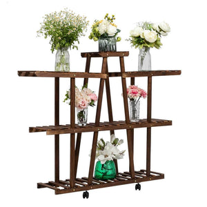 3-Layer 9-Seat Indoor And Outdoor Multifunctional Carbonized Ribbon Wheel Wooden Plant Stand Ferrisland