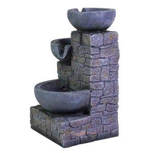3-Tier Flowing Bowls Table Fountain with LED Ferrisland