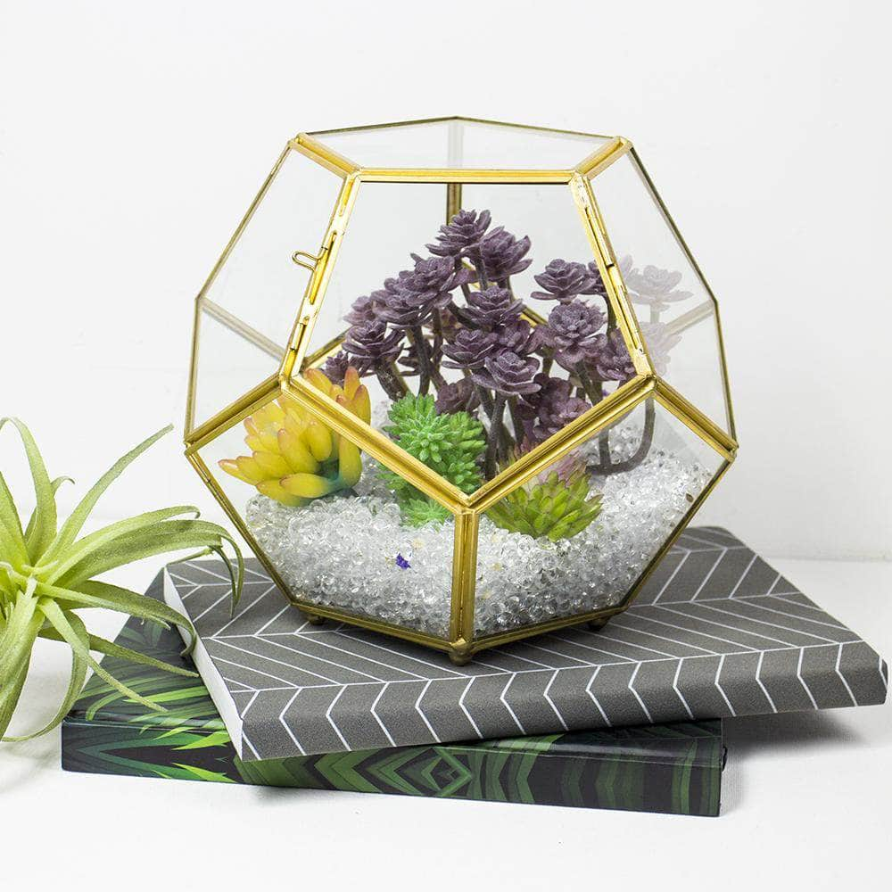 Brass Geometric Terrarium with Lid Ferrisland
