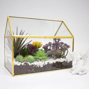 Brass House-Shaped Terrariums Ferrisland