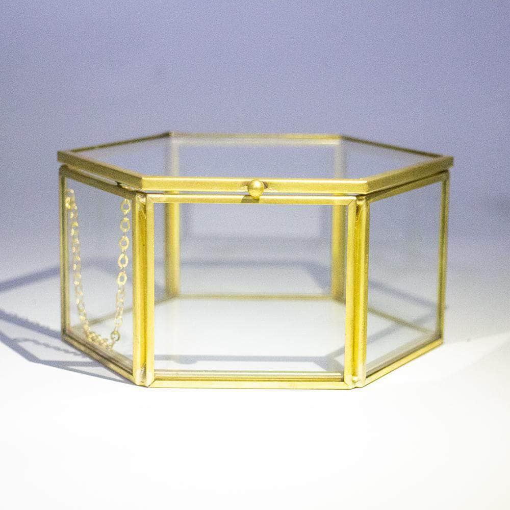 Golden Vintage Jewelry Glass Box Faceted Hexagonal Clear Glass & Brass - Ferrisland