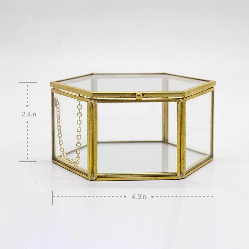 Golden Jewelry Glass Box Faceted Hexagonal Terrarium Ferrisland