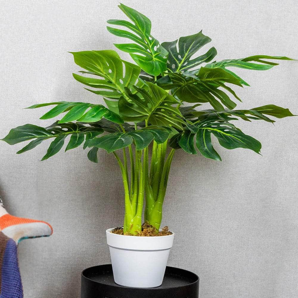 Indoor Artificial Tropical Plant Faux Potted Monstera Deliciosa Ferrisland