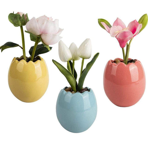 Set Of 3 Artificial Orchid Tulip Peony Bouquet Vase Flowers