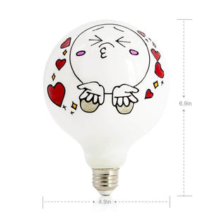 Large Kissing Face Colored Decorative Light Bulb LIMOR