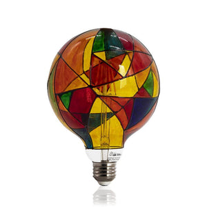 Large Stained Glass Colored Decorative Light Bulb LIMOR