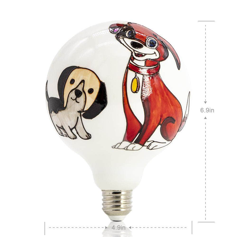 Large Two Dogs Colored Decorative Light Bulb LIMOR