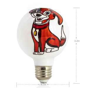Samll Two Dogs Colored Decorative Light Bulb LIMOR