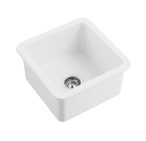 "Indio - 18"" Square Undermount Fireclay Bar Sink"