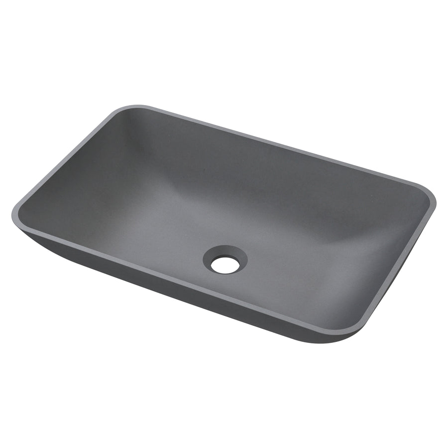"Marina - 22.25"" Rounded Rectangular Concrete Counter Top Sink"