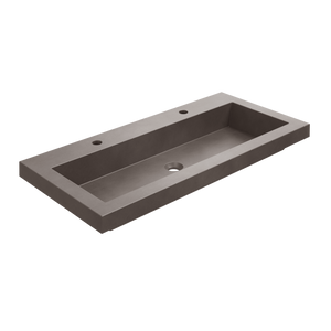 "Carmel - 39.5"" Rectangular Double Tap Single Bowl Concrete Drop-In Sink"