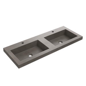 "Zuma - 47.25"" Rectangular Double Tap Double Bowl Concrete Drop-In Sink"