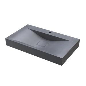 "Maverick - 31.5"" Rectangular Concrete Wave Bowl Counter Top Sink"