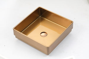 "Cardiff - 15.75"" x 15.75""  PVD Stainless Steel Half Drop-In Sink"
