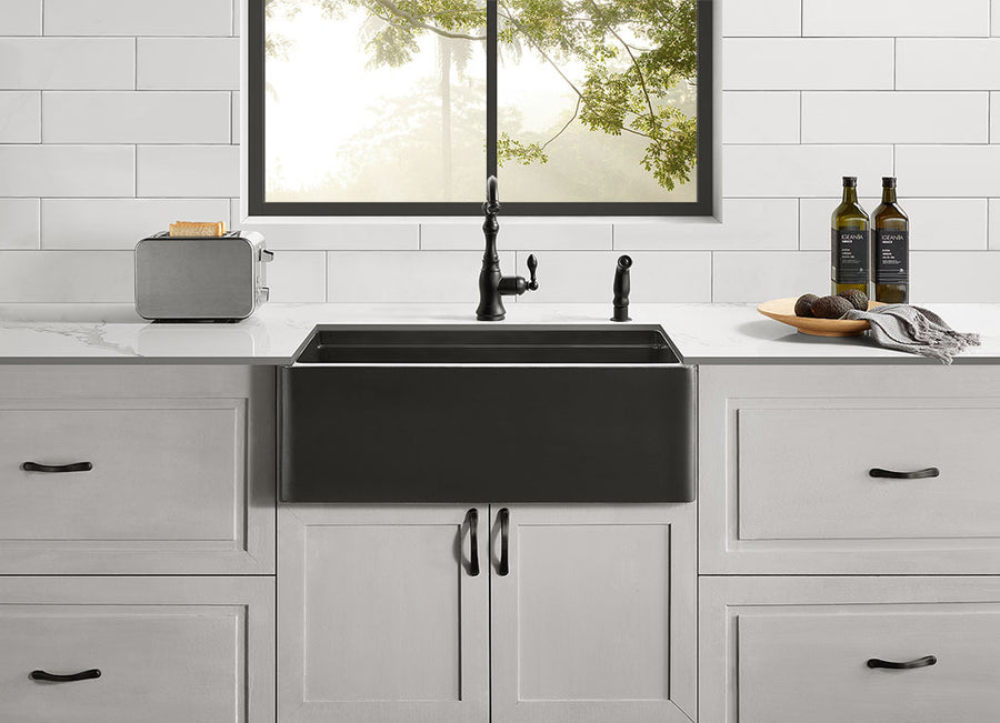 "Bixby - 33"" Concrete Workstation Farmhouse Sink"