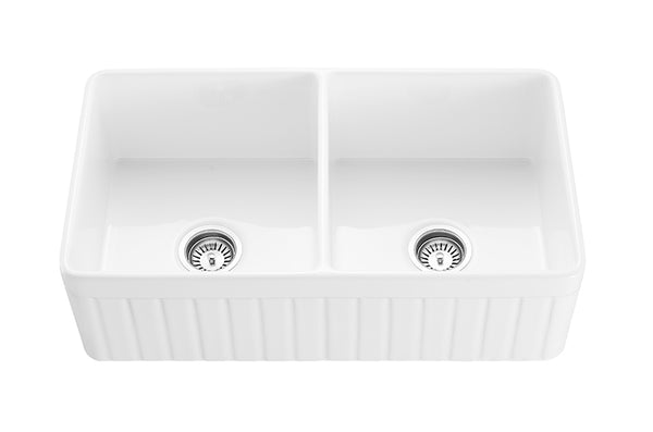 "Monterey - 33"" Apron Front Double Bowl Convertible Fireclay Farmhouse Kitchen Sink"