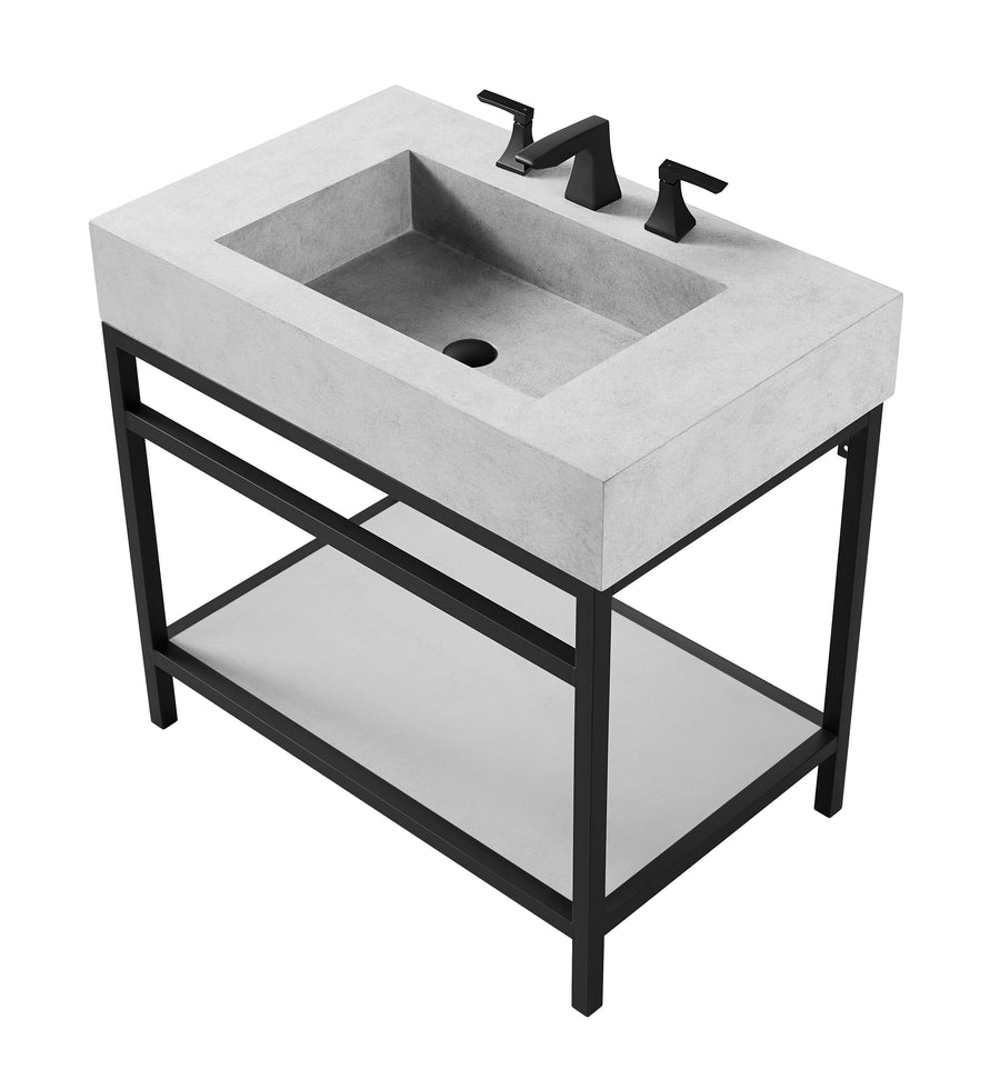 Laguna - Single Bowl Vanity / Floating Concrete Bathroom Sink w/ Stand