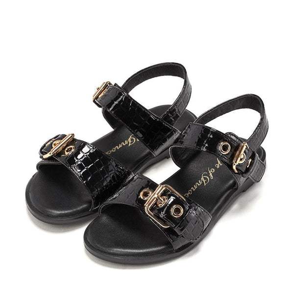 Zara Croco Black Sandals by Age of Innocence