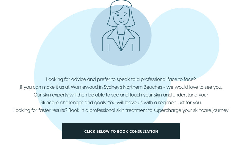 In Sydney and would like skincare advice in person? Visit us in Warriewood for professional skincare advice customised to your challenges and goals.
